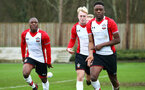 SOUTHAMPTON, ENGLAND - JANUARY 06: LtoR Michael Obafemi, Oliver Gardner, Jonathan Afolabi,  during the PL2 match between Southampton FC and West Ham United FC at Staplewood Complex on January 6, 2018 in Southampton, England. (Photo by James Bridle - Southampton FC/Southampton FC via Getty Images)