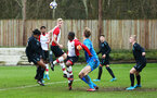 SOUTHAMPTON, ENGLAND - JANUARY 06:  Christoph Klarer header (left) during the PL2 match between Southampton FC and West Ham United FC at Staplewood Complex on January 6, 2018 in Southampton, England. (Photo by James Bridle - Southampton FC/Southampton FC via Getty Images)