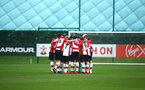 SOUTHAMPTON, ENGLAND - JANUARY 06:  Southampton FC Huddle ahead of the U18 PL match between Southampton FC and West Ham United FC at Staplewood Complex on January 6, 2018 in Southampton, England. (Photo by James Bridle - Southampton FC/Southampton FC via Getty Images)