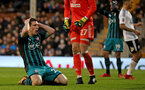 LONDON, ENGLAND - JANUARY 06: Pierre-Emile Hojbjerg of Southampton after a missed opportunity during the Emirates FA Cup third round match between Fulham FC and Southampton FC at Craven Cottage on January 6, 2018 in London, England. (Photo by Matt Watson/Southampton FC via Getty Images)