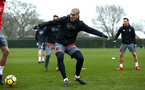SOUTHAMPTON, ENGLAND - JANUARY 11: Oriol Romeu (middle) during a Southampton FC training session at Staplewood Complex on January 11, 2018 in Southampton, England. (Photo by James Bridle - Southampton FC/Southampton FC via Getty Images)