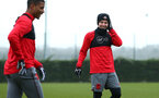 SOUTHAMPTON, ENGLAND - JANUARY 11: (L-R) Mario Lemina, Matt Target during a Southampton FC training session at Staplewood Complex on January 11, 2018 in Southampton, England. (Photo by James Bridle - Southampton FC/Southampton FC via Getty Images)