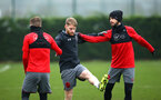 SOUTHAMPTON, ENGLAND - JANUARY 11: (L-R) Steven Davis, Josh Sims, Shane Long, during a Southampton FC training session at Staplewood Complex on January 11, 2018 in Southampton, England. (Photo by James Bridle - Southampton FC/Southampton FC via Getty Images)