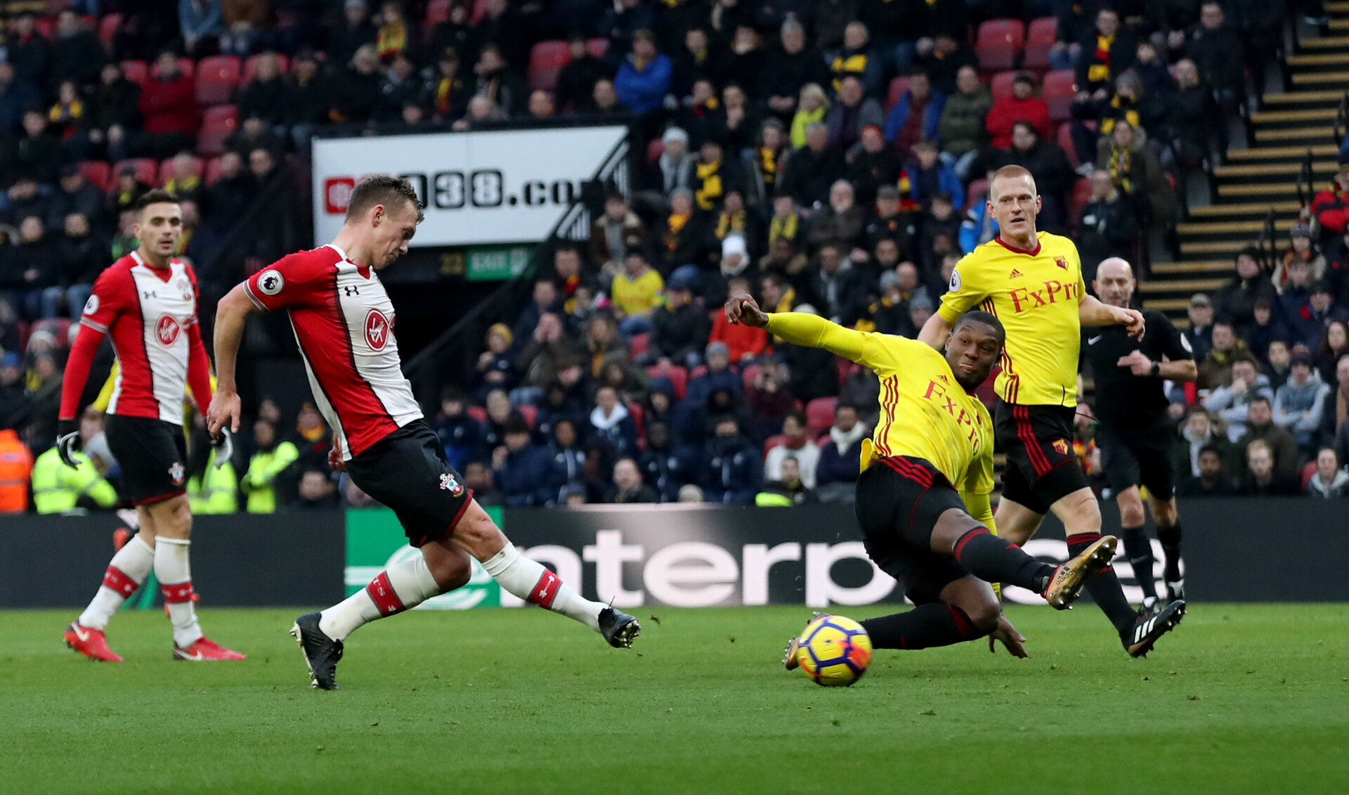 WATFORD, ENGLAND - JANUARY 13: James Ward-Prowse of Southampton scores his second goal during the Premier League match between Watford and Southampton at Vicarage Road on January 13, 2018 in Watford, England. (Photo by Matt Watson/Southampton FC via Getty Images)