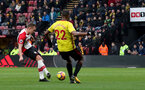 WATFORD, ENGLAND - JANUARY 13: James Ward-Prowse of Southampton scores during the Premier League match between Watford and Southampton at Vicarage Road on January 13, 2018 in Watford, England. (Photo by Matt Watson/Southampton FC via Getty Images)