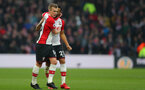 WATFORD, ENGLAND - JANUARY 13: James Ward-Prowse(L) of Southampton celebrates with Ryan Bertrand during the Premier League match between Watford and Southampton at Vicarage Road on January 13, 2018 in Watford, England. (Photo by Matt Watson/Southampton FC via Getty Images)