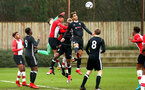 SOUTHAMPTON, ENGLAND - JANUARY 20: Harry Hamblin goes for the header (Middle) during an U18 Premier League match between Southampton FC and Fulham FC at Staplewood Complex on January 230, 2018 in Southampton, England. (Photo by James Bridle - Southampton FC/Southampton FC via Getty Images)