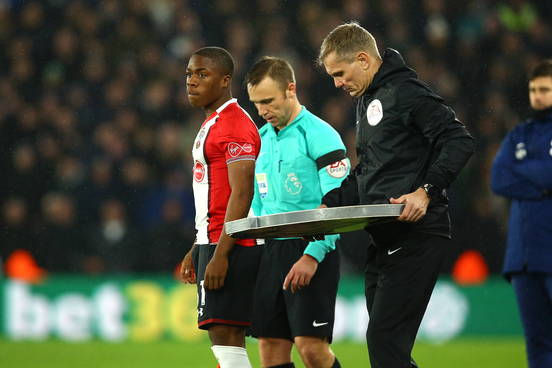 SOUTHAMPTON, ENGLAND - JANUARY 21: Michael Obafemi comes on during the second half of the Premier League match between Southampton and Tottenham Hotspur at St Mary's Stadium on January 20, 2018 in Southampton, England. (Photo by James Bridle - Southampton FC/Southampton FC via Getty Images)