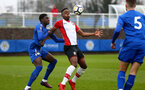 SOUTHAMPTON, ENGLAND - JANUARY 27: Jonathan Afolbai (Middle)during the match between Southampton FC and Leicester FC U18s at Leicester FC Training ground on January 27, 2018 in Southampton, England. (Photo by James Bridle / Southampton FC via Getty Images)