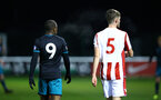 STOKE, ENGLAND - JANUARY 29: Michael Obafemi (left) during the match between Southampton FC and Stoke City FC U23s at St Georges Park Training Ground on January 29, 2018 in Southampton, England. (Photo by James Bridle / Southampton FC via Getty Images)