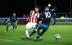 STOKE, ENGLAND - JANUARY 29: Jake Hesketh is awarded a penalty (right) during the match between Southampton FC and Stoke City FC U23s at St Georges Park Training Ground on January 29, 2018 in Southampton, England. (Photo by James Bridle / Southampton FC via Getty Images)