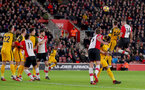 SOUTHAMPTON, ENGLAND - JANUARY 31: Oriol Romeu heads at goal of Southampton FC during the Premier League match between Southampton and Brighton and Hove Albion at St Mary's Stadium on January 31, 2018 in Southampton, England. (Photo by Matt Watson/Southampton FC via Getty Images)