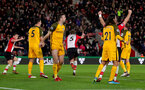 SOUTHAMPTON, ENGLAND - JANUARY 31: Jack Stephens(centre) of Southampton FC celebrates after equalising during the Premier League match between Southampton and Brighton and Hove Albion at St Mary's Stadium on January 31, 2018 in Southampton, England. (Photo by Matt Watson/Southampton FC via Getty Images)