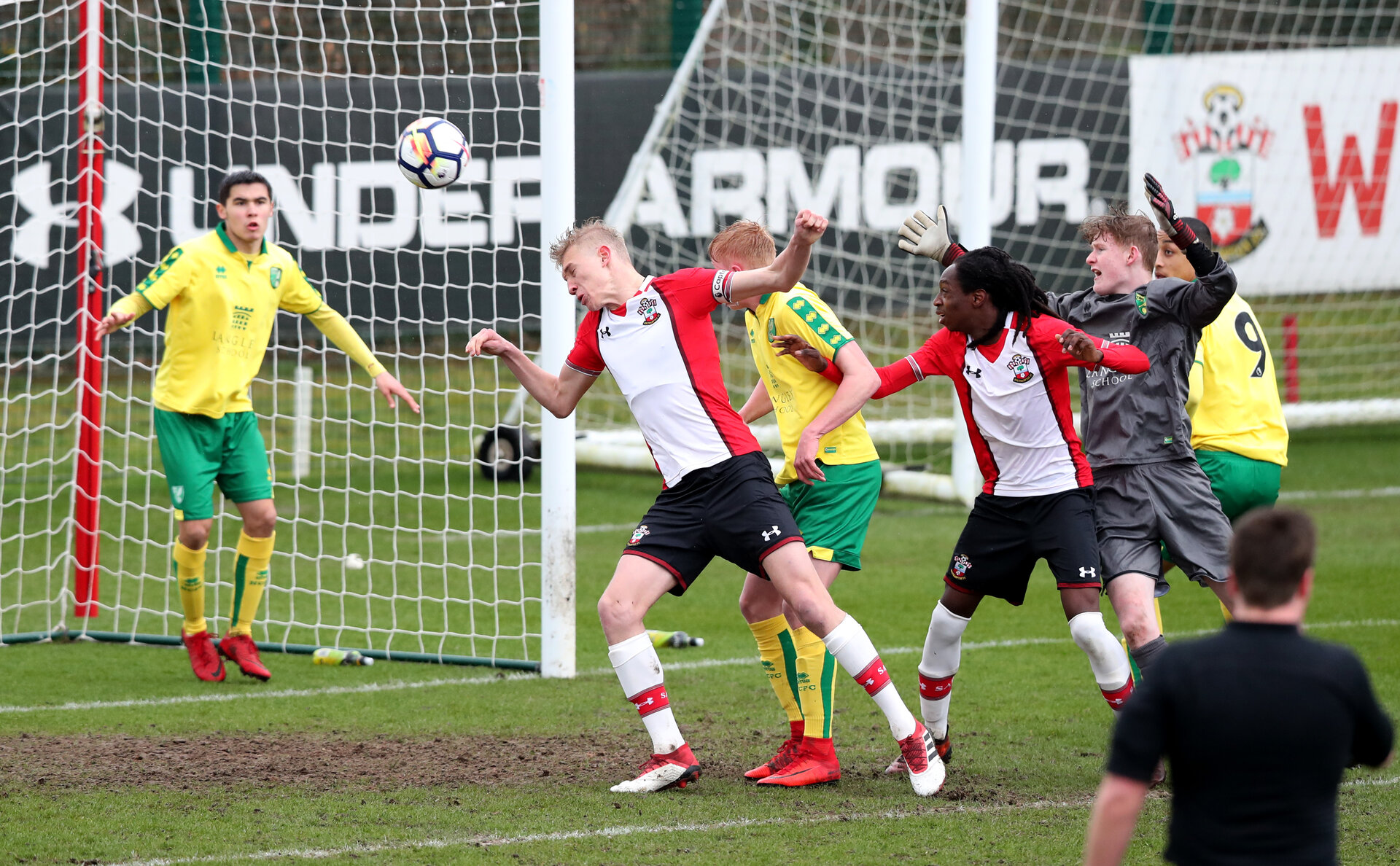 Christoph Klarer scores but the referr rules it out for a foul during the U18 PL match between Southampton and Norwich City, pictured at the Staplewood Campus, Southampton, 10th February 2018