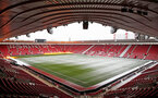 General view of snowfall at St Mary's stadium, Southampton, 1st March 2018