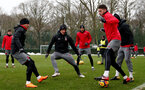 SOUTHAMPTON, ENGLAND - MARCH 02: Guido Carrillo(centre) of Southampton FC during a training session at the Staplewood Campus on March 2, 2018 in Southampton, England. (Photo by Matt Watson/Southampton FC via Getty Images)