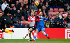 SOUTHAMPTON, ENGLAND - MARCH 03: josh Sims(L) of Southampton and Konstantinos Stafylidis(R) of Stoke during the Premier League match between Southampton and Stoke City at St Mary's Stadium on March 3, 2018 in Southampton, England. (Photo by Matt Watson/Southampton FC via Getty Images)