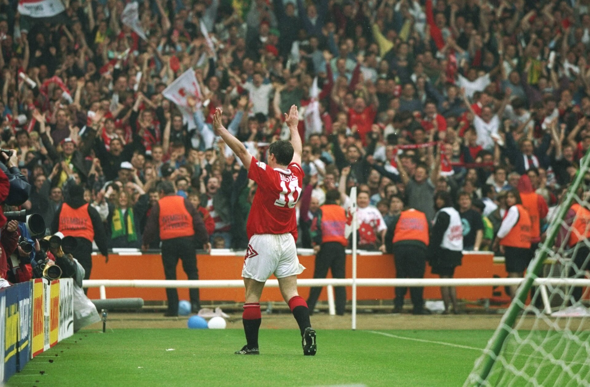 14 May 1994:  Mark Hughes of Manchester United celebrates his goal during the FA Cup Final against Chelsea at Wembley Stadium in London. Manchester United won the match 4-0. \ Mandatory Credit: Allsport UK /Allsport