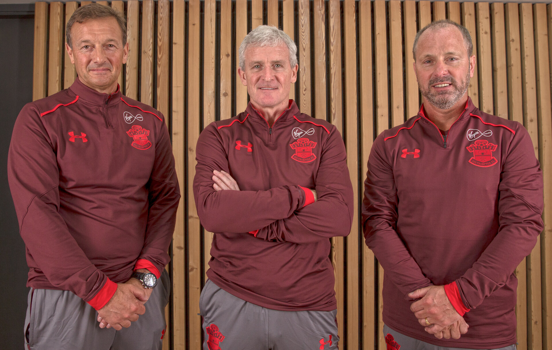 Southampton FC coaching staff pictured L to R Eddie Niedzwiecki, Mark Hughes and Mark Bowen at the Staplewood Campus, Southampton, 15th March 2018