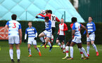 SOUTHAMPTON, ENGLAND - MARCH 17: Will Smallbone (middle) heads the ball during the U18's match between Southampton FC and Reading FC at Staplewood Complex on March 16, 2018 in Southampton, England. (Photo by James Bridle - Southampton FC/Southampton FC via Getty Images)