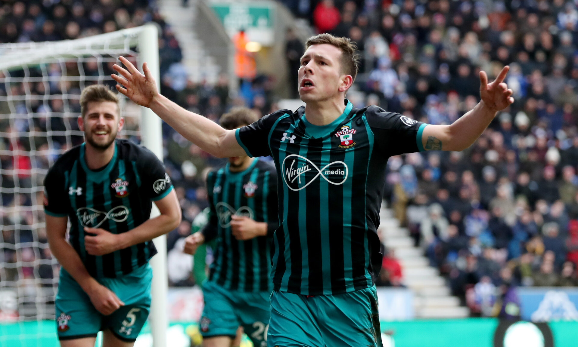 WIGAN, ENGLAND - MARCH 18: Pierre-Emile Hojbjerg of Southampton during the FA Cup Quarter Final match between Wigan Athletic and Southampton FC at the DW Stadium on March 18, 2018 in Wigan, England. (Photo by Matt Watson/Southampton FC via Getty Images)