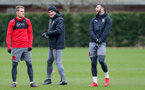 SOUTHAMPTON, ENGLAND - MARCH 20: L to R Steven Davis, Mark Hughes and Charlie Austin during a Southampton FC training session at the Staplewood Campus on March 20, 2018 in Southampton, England. (Photo by Matt Watson/Southampton FC via Getty Images)