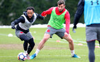 SOUTHAMPTON, ENGLAND - MARCH 20: Nathan Redmond(L) and Sam McQueen(R) during a Southampton FC training session at the Staplewood Campus on March 20, 2018 in Southampton, England. (Photo by Matt Watson/Southampton FC via Getty Images)