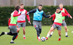 SOUTHAMPTON, ENGLAND - MARCH 20: Charlie Austin(L) and Jeremy Pied during a Southampton FC training session at the Staplewood Campus on March 20, 2018 in Southampton, England. (Photo by Matt Watson/Southampton FC via Getty Images)