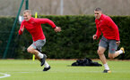SOUTHAMPTON, ENGLAND - MARCH 29: James Ward-Prowse(L) and Oriol Romeu(R) during a Southampton FC training session at the Staplewood Campus on March 29, 2018 in Southampton, England. (Photo by Matt Watson/Southampton FC via Getty Images)