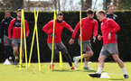 SOUTHAMPTON, ENGLAND - APRIL 06: L to R, Shane Long, Charlie Austin, Jack Stephens and James Ward-Prowse during a Southampton FC training session at the Staplewood Campus on April 6, 2018 in Southampton, England. (Photo by Matt Watson/Southampton FC via Getty Images)