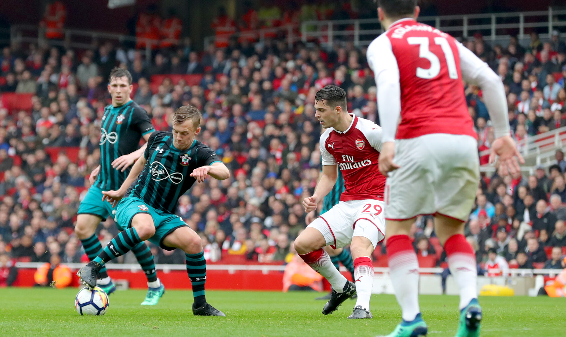 LONDON, ENGLAND - APRIL 08: James Ward-Prowse of Southampton during the Premier League match between Arsenal and Southampton at Emirates Stadium on April 8, 2018 in London, England. (Photo by Matt Watson/Southampton FC via Getty Images)