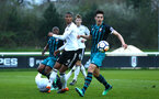 SOUTHAMPTON, ENGLAND - APRIL 13: Alfie Jones (right) during the PL2 Match between Fulham FC and Southampton FC on April 12, 2018 in Fulham London, England. (Photo by James Bridle - Southampton FC/Southampton FC via Getty Images)