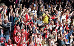 SOUTHAMPTON, ENGLAND - APRIL 14: Southampton FC fans celebrate after Dusan Tadic scores during the Premier League match between Southampton and Chelsea at St Mary's Stadium on April 14, 2018 in Southampton, England. (Photo by Chris Moorhouse/Southampton FC via Getty Images)