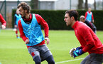 SOUTHAMPTON, ENGLAND - APRIL 17: LtoR Manolo Gabbiadini, Alex McCarthy during a Southampton FC training session at Staplewood Complex on April 17, 2018 in Southampton, England. (Photo by James Bridle - Southampton FC/Southampton FC via Getty Images)