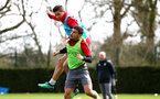 SOUTHAMPTON, ENGLAND - APRIL 17: LtoR Guido Carrillo, Jeremy Pied during a Southampton FC training session at Staplewood Complex on April 17, 2018 in Southampton, England. (Photo by James Bridle - Southampton FC/Southampton FC via Getty Images)