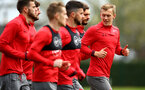 SOUTHAMPTON, ENGLAND - APRIL 17: James Ward-Prowse (right) during a Southampton FC training session at Staplewood Complex on April 17, 2018 in Southampton, England. (Photo by James Bridle - Southampton FC/Southampton FC via Getty Images)