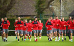SOUTHAMPTON, ENGLAND - APRIL 17: Southampton FC players warming up ahead of a Southampton FC training session at Staplewood Complex on April 17, 2018 in Southampton, England. (Photo by James Bridle - Southampton FC/Southampton FC via Getty Images)