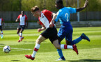 SOUTHAMPTON, ENGLAND - APRIL 18: Jake Vokins (left) during the U18 Premier League match between Southampton FC and Arsenal FC at Staplewood Complex on April 17, 2018 in Southampton, England. (Photo by James Bridle - Southampton FC/Southampton FC via Getty Images)