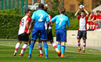 SOUTHAMPTON, ENGLAND - APRIL 18: Jake Vokins makes a throw in (right) during the U18 Premier League match between Southampton FC and Arsenal FC at Staplewood Complex on April 17, 2018 in Southampton, England. (Photo by James Bridle - Southampton FC/Southampton FC via Getty Images)