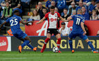LEICESTER, ENGLAND - APRIL 19: Dusan Tadic of Southampton during the Premier League match between Leicester City and Southampton at The King Power Stadium on April 19, 2018 in Leicester, England. (Photo by Matt Watson/Southampton FC via Getty Images)