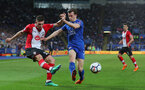 LEICESTER, ENGLAND - APRIL 19: Pierre-Emile Hojbjerg(L) of Southampton and Ben Chilwell of Leicester during the Premier League match between Leicester City and Southampton at The King Power Stadium on April 19, 2018 in Leicester, England. (Photo by Matt Watson/Southampton FC via Getty Images)