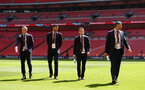 LONDON, ENGLAND - APRIL 22: LtoR James Ward-Prowse, Wesley Hoedt, Steven Davis, Kelvin Davis of Southampton FC ahead of the Semi Final of the Emirates FA Cup between Southampton FC and Chelsea FC at Wembley Stadium on April 22, 2018 in London, England. (Photo by James Bridle - Southampton FC/Southampton FC via Getty Images)