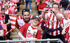 LONDON, ENGLAND - APRIL 22: Southampton FC fans ahead of Kick off for the Semi Final of the Emirates FA Cup between Southampton FC and Chelsea FC at Wembley Stadium on April 22, 2018 in London, England. (Photo by James Bridle - Southampton FC/Southampton FC via Getty Images)