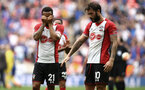 LONDON, ENGLAND - APRIL 22: LtoR Ryan Bertrand, Charlie Austin after the final whistle is blown for the Semi Final of the Emirates FA Cup between Southampton FC and Chelsea FC at Wembley Stadium on April 22, 2018 in London, England. (Photo by James Bridle - Southampton FC/Southampton FC via Getty Images)