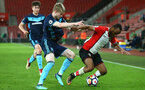 SOUTHAMPTON, ENGLAND - APRIL 23: Tyreke Johnson (right) during the PL2 match between Southampton FC and Middlesbrough FC atSt Mary's Stadium on April 23, 2018 in Southampton, England. (Photo by James Bridle - Southampton FC/Southampton FC via Getty Images)