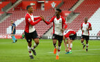 SOUTHAMPTON, ENGLAND - APRIL 23: LtoR Yan Valery, Nathan Tella, during the PL2 match between Southampton FC and Middlesbrough FC atSt Mary's Stadium on April 23, 2018 in Southampton, England. (Photo by James Bridle - Southampton FC/Southampton FC via Getty Images)