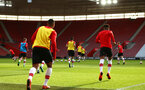 SOUTHAMPTON, ENGLAND - APRIL 23: Southampton FC warm up ahead of the PL2 match between Southampton FC and Middlesbrough FC atSt Mary's Stadium on April 23, 2018 in Southampton, England. (Photo by James Bridle - Southampton FC/Southampton FC via Getty Images)