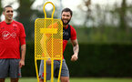 SOUTHAMPTON, ENGLAND - APRIL 24: Charlie Austin (middle) during an open training session with Southampton FC at Staplewood Complex on April 24, 2018 in Southampton, England. (Photo by James Bridle - Southampton FC/Southampton FC via Getty Images)