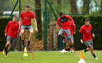 SOUTHAMPTON, ENGLAND - APRIL 24: LtoR Jan Bednarek, Wesley Hoedt, Mario Lemina, Jeremy Pied during an open training session with Southampton FC at Staplewood Complex on April 24, 2018 in Southampton, England. (Photo by James Bridle - Southampton FC/Southampton FC via Getty Images)