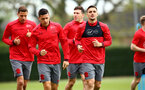 SOUTHAMPTON, ENGLAND - APRIL 24: LtoR Jan Bednarek, Guido Carrillo, Pierre-Emile Højbjerg, Dusan Tadic, during an open training session with Southampton FC at Staplewood Complex on April 24, 2018 in Southampton, England. (Photo by James Bridle - Southampton FC/Southampton FC via Getty Images)
